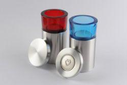 Waxinelichthouder mini urn rond met hartendeksel 120mm}