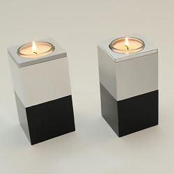 Moderne waxinelichthouder mini urn metaal Alunero zwarte voet 2555}