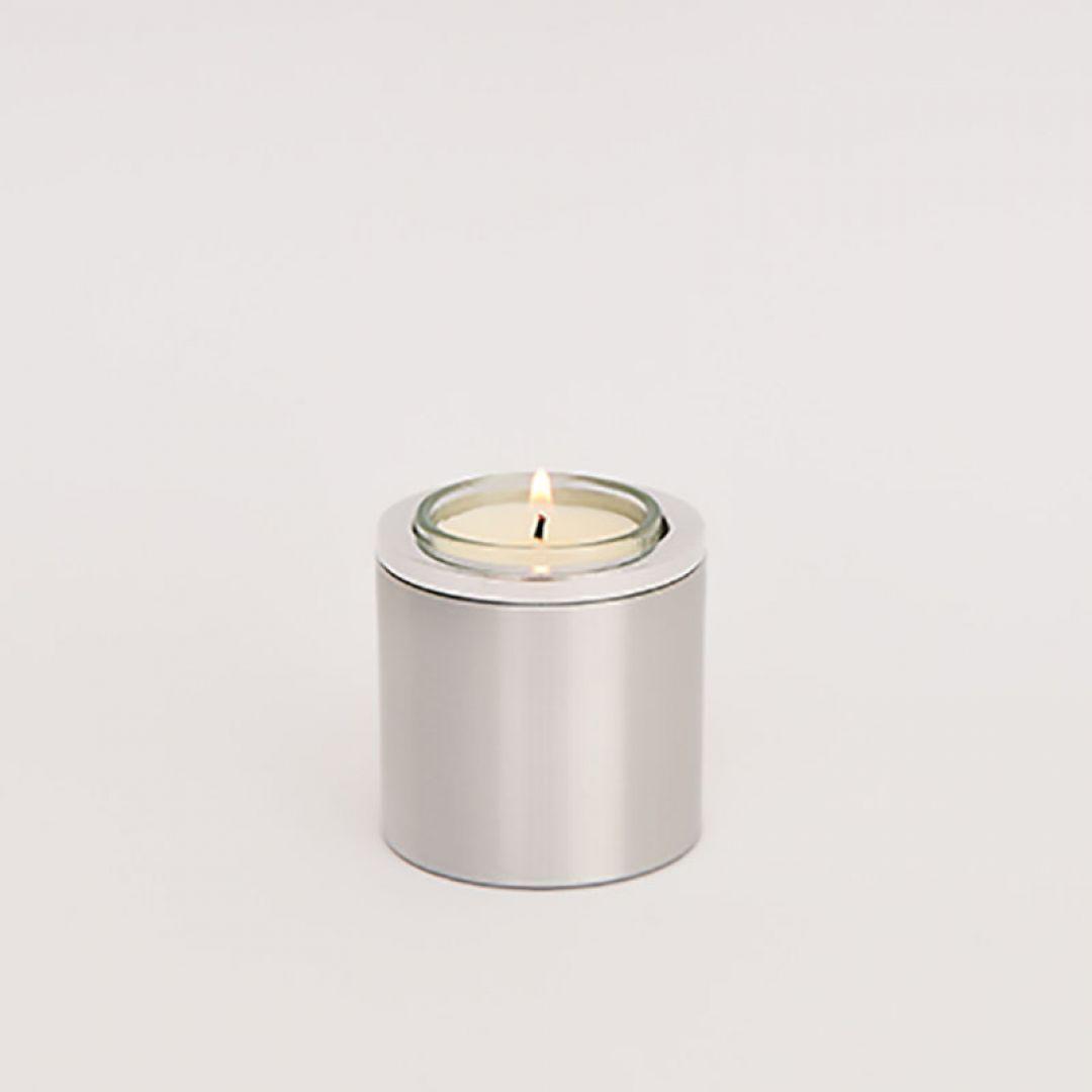 Waxinelichthouder, metalen mini urn rond 60mm 2576