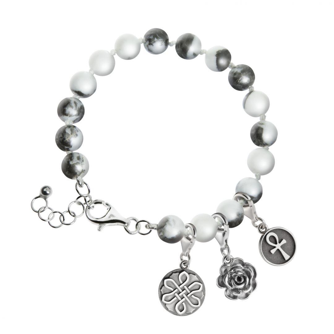 Armband jaspis kralen zwart/wit met zilver slot 4000