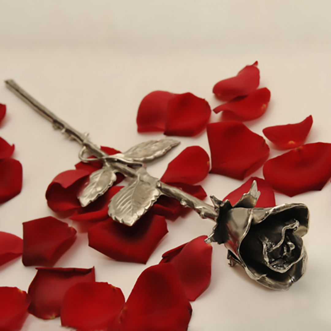 Tinnen roos 40 cm 4040