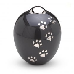 Messing mini urn hondenpoot zwart modern AD101L}