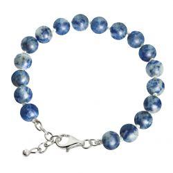Armband Sodaliet kralen blauw/grijs met zilver slot 4001}