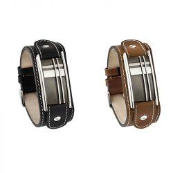 Asarmband met kalfsleder in het zwart/zilver en geometrisch motief 412}