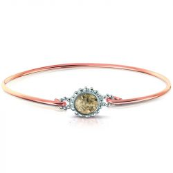 Asarmband zilver/rosegoud met hars ROB002R}