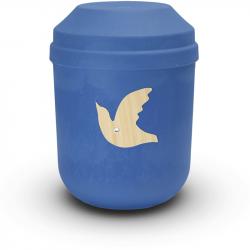 Bio urn gerecycled hout blauw met duif BU003}