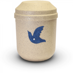 Bio urn gerecycled hout naturel met duif BU006}