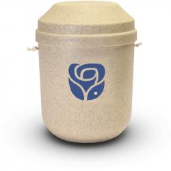 Bio urn gerecycled hout naturel met roos BU007}