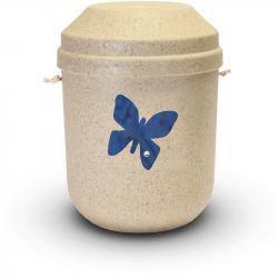 Bio urn gerecycled hout naturel met vlinder BU008}