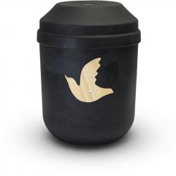 Bio urn gerecycled hout zwart met duif BU001}