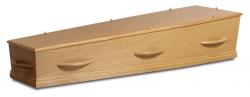 Eiken fineer kist met houten grepen 1-80HC8}