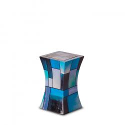 Glasfiber mini urn modern blauw GFU220S}