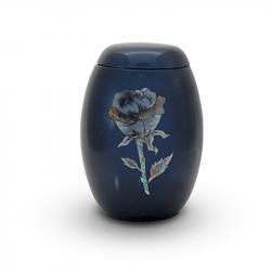 Glasfiber urn blauw met roos parelmoer GFU217}