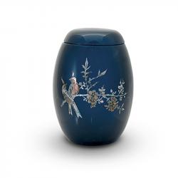 Glasfiber urn blauw met vogels parelmoer GFU218}