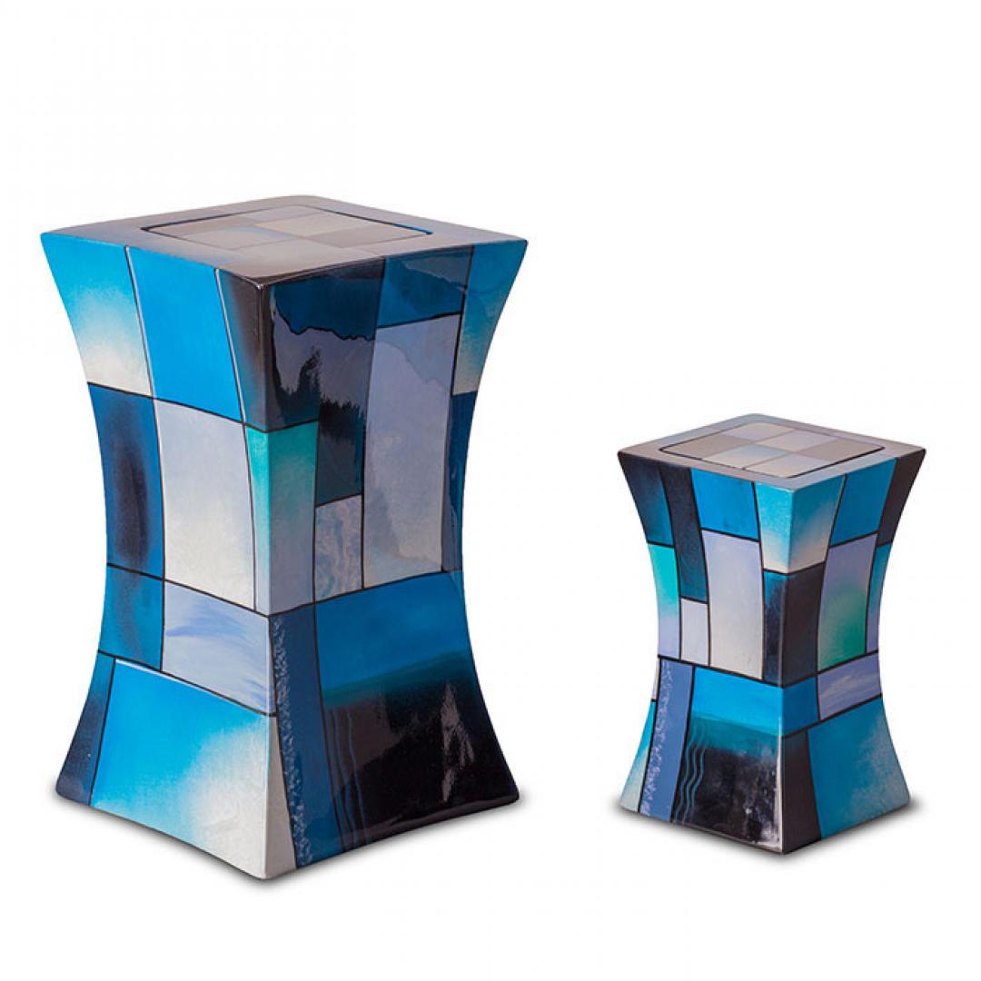 Glasfiber mini urn modern blauw GFU220S