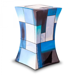 Glasfiber urn modern blauw GFU220}