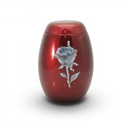 Glasfiber urn rood met roos parelmoer GFU201}