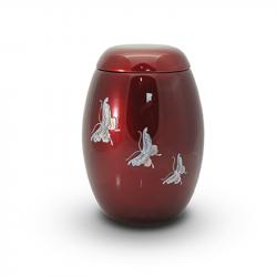 Glasfiber urn rood met vlinders parelmoer GFU203}