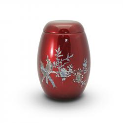 Glasfiber urn rood met vogels parelmoer GFU202}