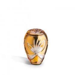 Glazen mini urn goud met bloem GU171}