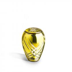 Glazen mini urn licht groen met lijnen GU173}