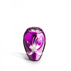 Glazen mini urn paars met vlinder GU172}