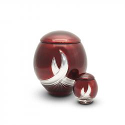 Glazen mini urn rood met zilver GU120K