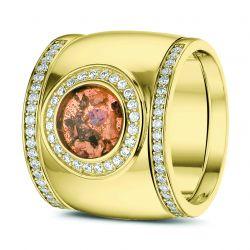 Gouden damesring met diamant en aansluitring en hars, RY007+RY006}
