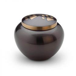 Messing mini urn hondenpoot donkerbruin HU189M}