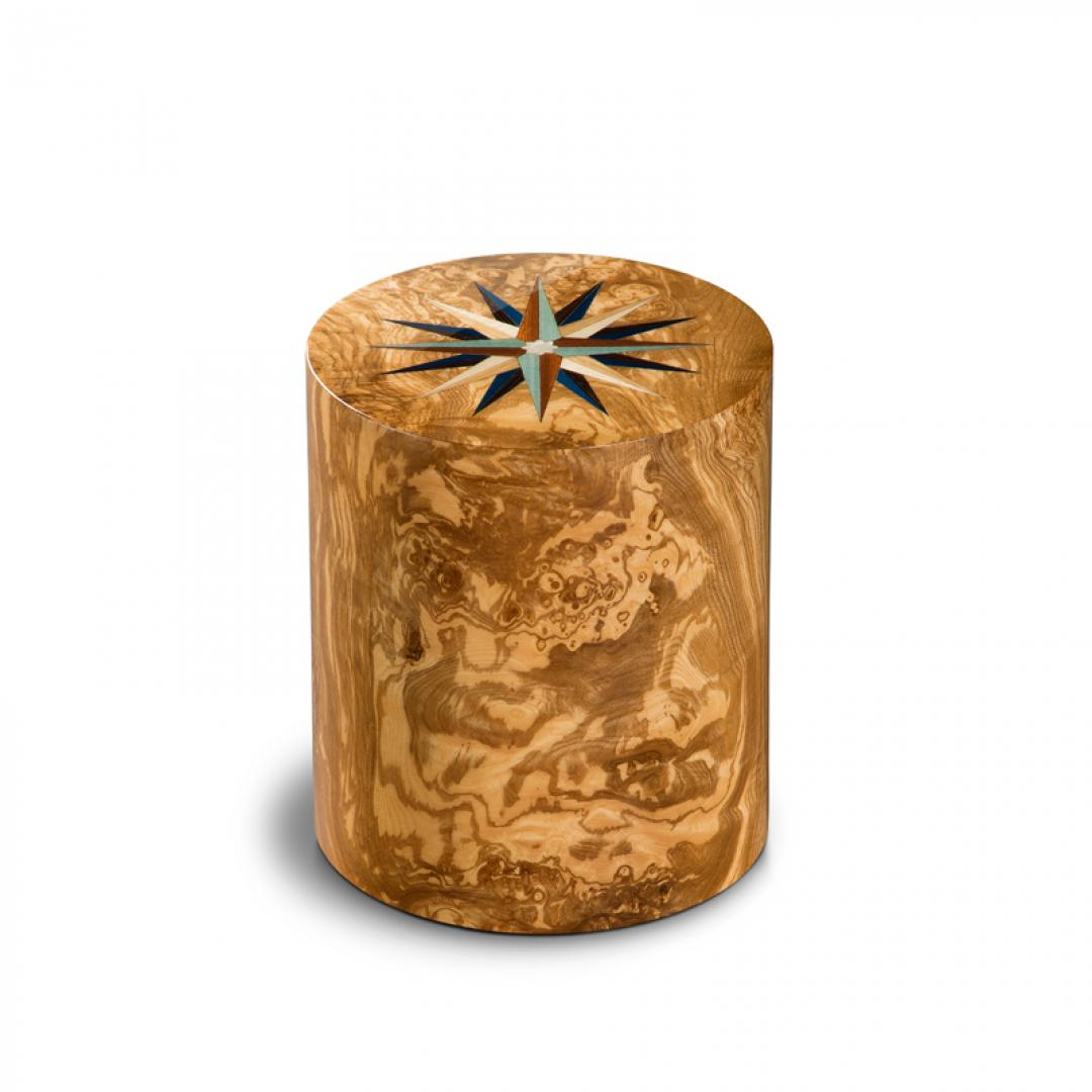 Houten cilinder medium urn olijfhout Columbarium Pisa RV Olivo UR-CO-P-11L 6 Liter