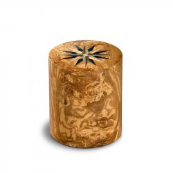 Houten cilinder medium urn olijfhout Columbarium Pisa RV Olivo UR-CO-P-11L 6 Liter}