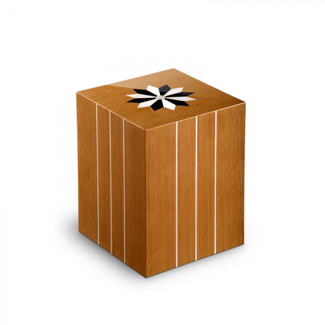 Houten medium urn teakhout met windroos Columbarium Aquarama Teak UR-CR-V-03L 6 Liter