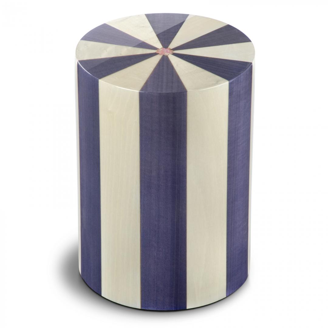 Houten cilinder urn blauw en ivoor Viola UR-P-XX-07L 7 Liter