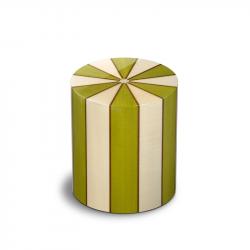 Houten cilinder medium urn groen en ivoor Columbarium Pisa Erica UR-CO-P-01L 6 Liter}
