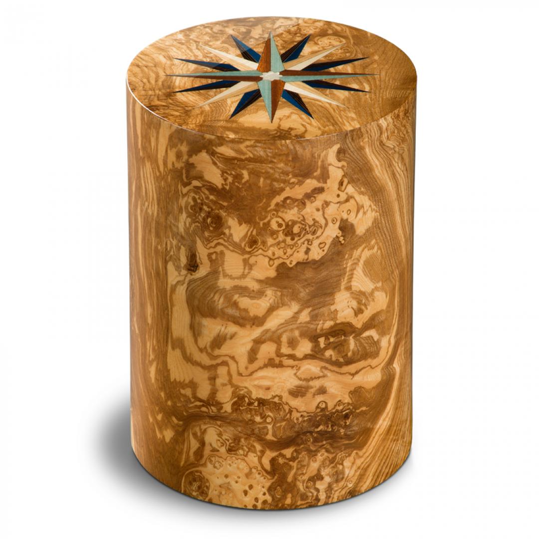 Houten cilinder urn olijfhout windroos Columbarium Pisa RV Olivo UR-CO-P-11L 6 Liter
