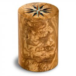 Houten cilinder urn olijfhout windroos Columbarium Pisa RV Olivo UR-CO-P-11L 6 Liter}
