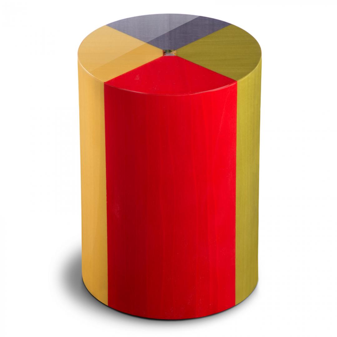 Houten cilinder medium urn 4 kleuren Columbarium Pisa Arlecchino UR-CO-P-09L 6 Liter