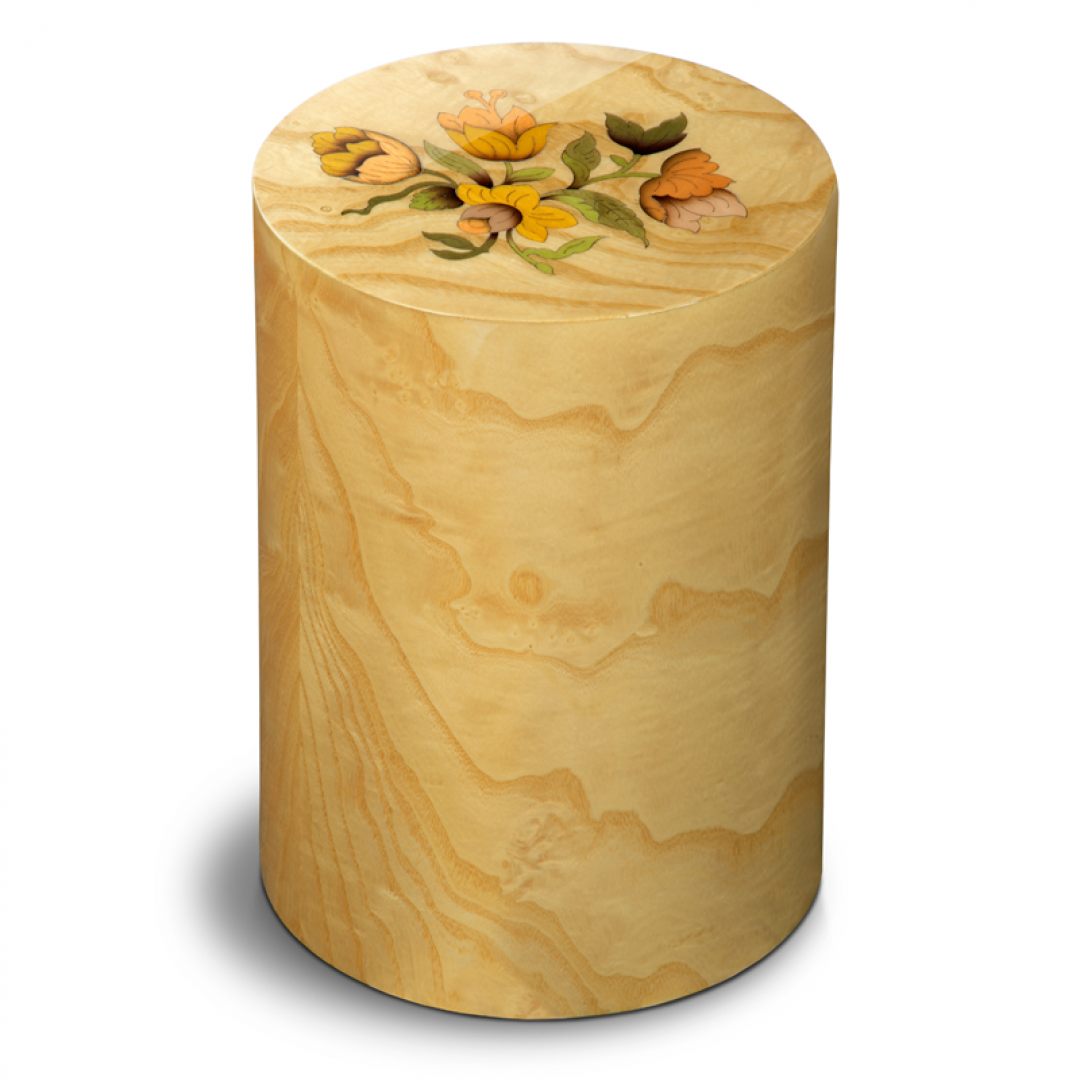 Houten cilinder urn met bloemen Columbarium Pisa Mazzo di Fiori UR-CO-P-54L 6 Liter