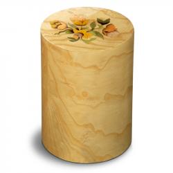 Houten cilinder urn met bloemen Columbarium Pisa Mazzo di Fiori UR-CO-P-54L 6 Liter}
