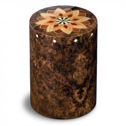 Houten cilinder urn donker Columbarium Girandola Vavona UR-CO-P-51L 6 Liter}