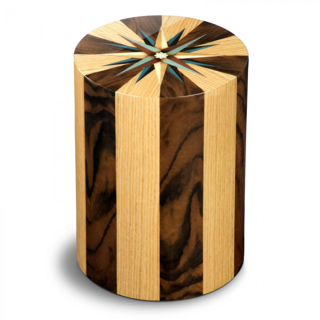 Houten cilinder urn walnotenhout en eikenhout Columbarium RV Noce Rovero UR-CO-P-05L 6 Liter