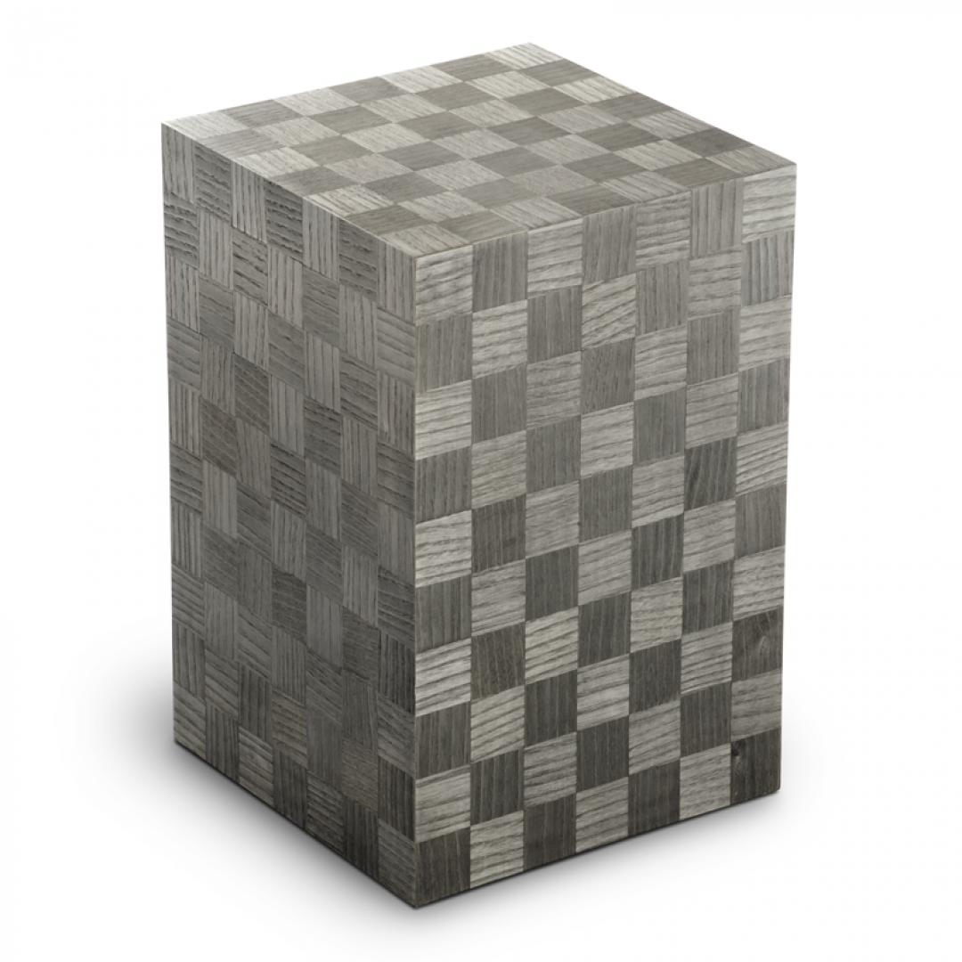 Houten urn grijs met schaakbord patroon Scacchiera Grafite grigio scuro verticale opaca UR-V-SC-05P 7,4 Liter