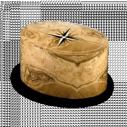 Houten ovalen urn van olijfhout met windroos URRRV01L}