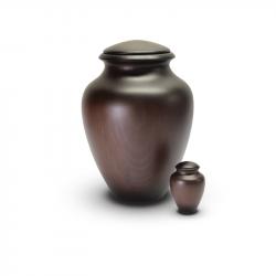 Houten mini urn rond donker WUK102}