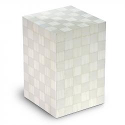 Houten urn wit met schaakbord patroon Columbarium Scacchiera Artico UR-C-SC-01L 6 Liter}