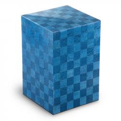 Houten urn blauw met schaakbord patroonScacchiera blu UR-V-SC-02L 7 L}