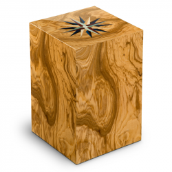 Houten urn olijfhout met windroos Rosa dei Venti Olivo UR-V-RV-01L 7 Liter}