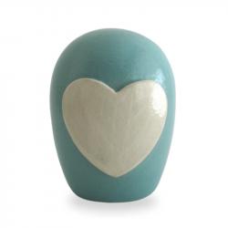 Keramiek baby urn met hart KLU15-3-1}