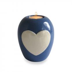 Keramiek baby urn met hart en lichtje KLU15-3-2}