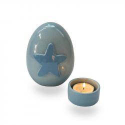 Keramiek baby urn met ster AMKLU12-1-1}